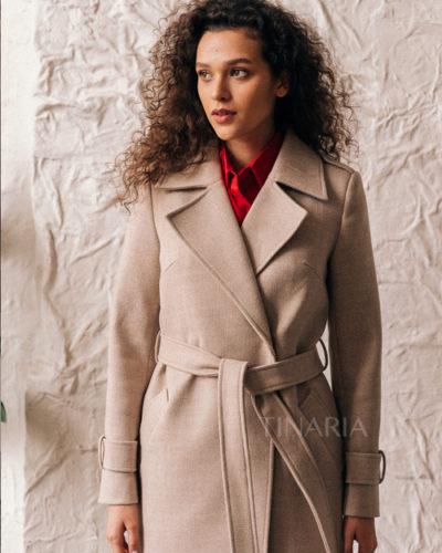 Пальто с манжетами на рукавах молочного оттенка 115 см