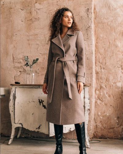 Пальто с манжетами на рукавах кофейного оттенка 115 см