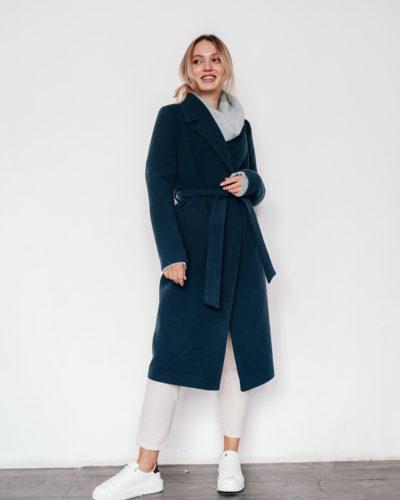 Пальто-халат в оттенке изумруд 115см