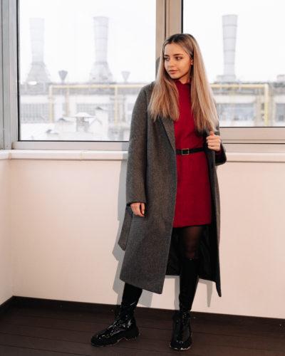 Зимнее пальто-халат в цвете темно-серая диагональ