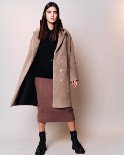 Зимнее пальто из шерсти альпаки в кофейном цвете