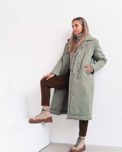 Куртка-пальто с английским воротником в цвете фисташка