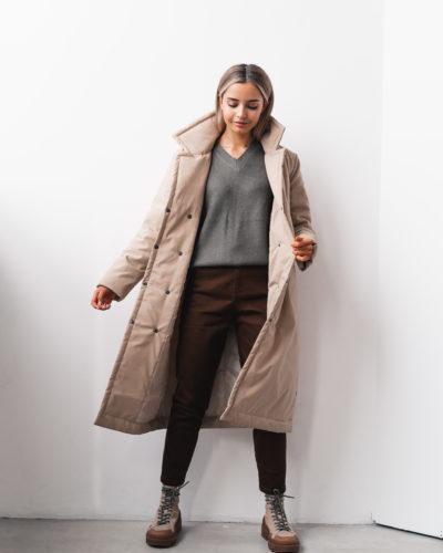 Куртка-пальто с английским воротником в цвете кэмел
