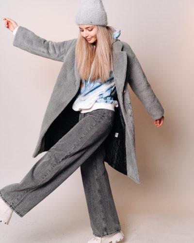 Зимнее пальто из шерсти альпаки в сером цвете