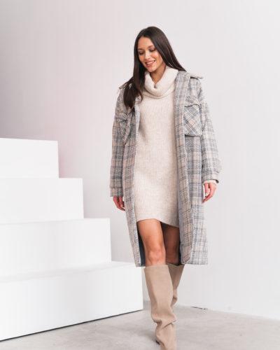 Зимнее пальто-рубашка в бежевую клетку