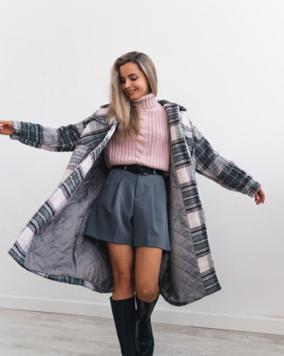 Зимнее пальто-рубашка в пудровую клетку