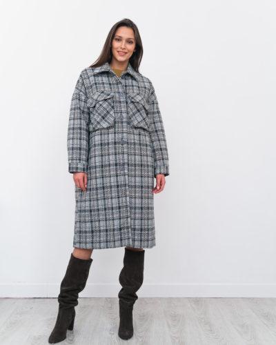 Зимнее пальто-рубашка в серую клетку