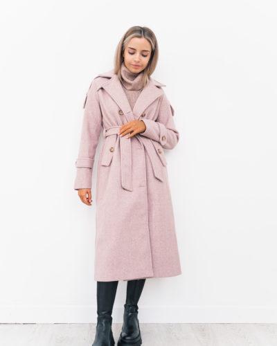 Пальто под тренч с погонами в пудровом оттенке