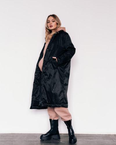 Куртка-пальто с английским воротником в черном цвете