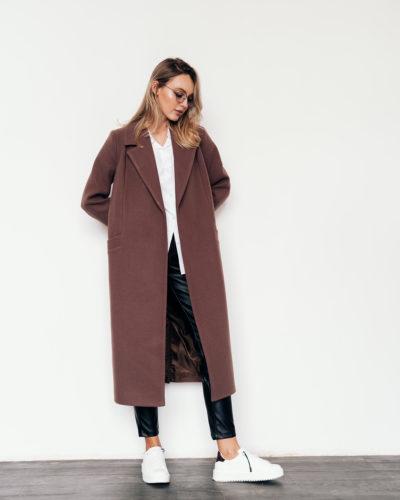 Пальто-халат в цвете мокко 115см