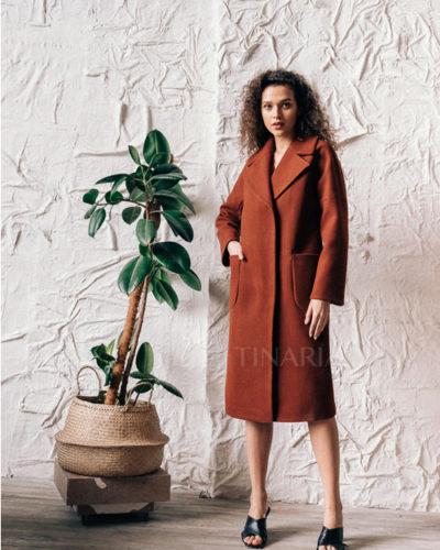 Пальто со спущенным плечом в медовом цвете 105 см