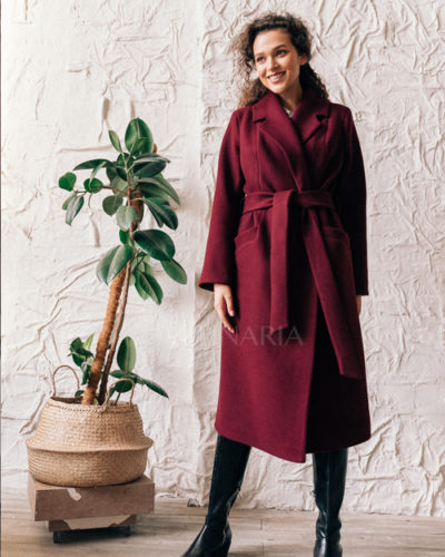 Пальто-халат в винном цвете 115 см