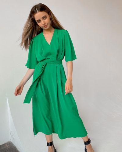 Платье кимоно из шифона в зеленом цвете