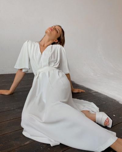 Платье кимоно из шифона в белом цвете