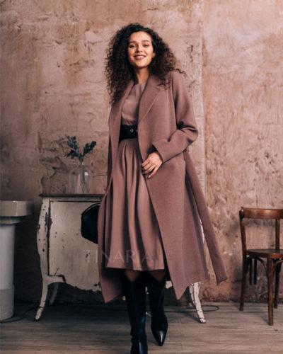 Пальто-халат в цвете мокко 115 см