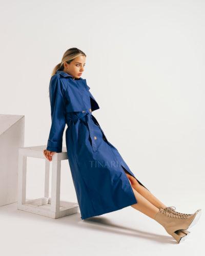 Тренчкот синего цвета из водонепроницаемой ткани 115 см