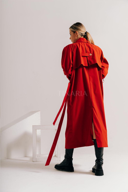 Тренчкот терракотового цвета из водонепроницаемой ткани 115 см