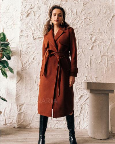 Пальто под тренч в медовом оттенке 115 см